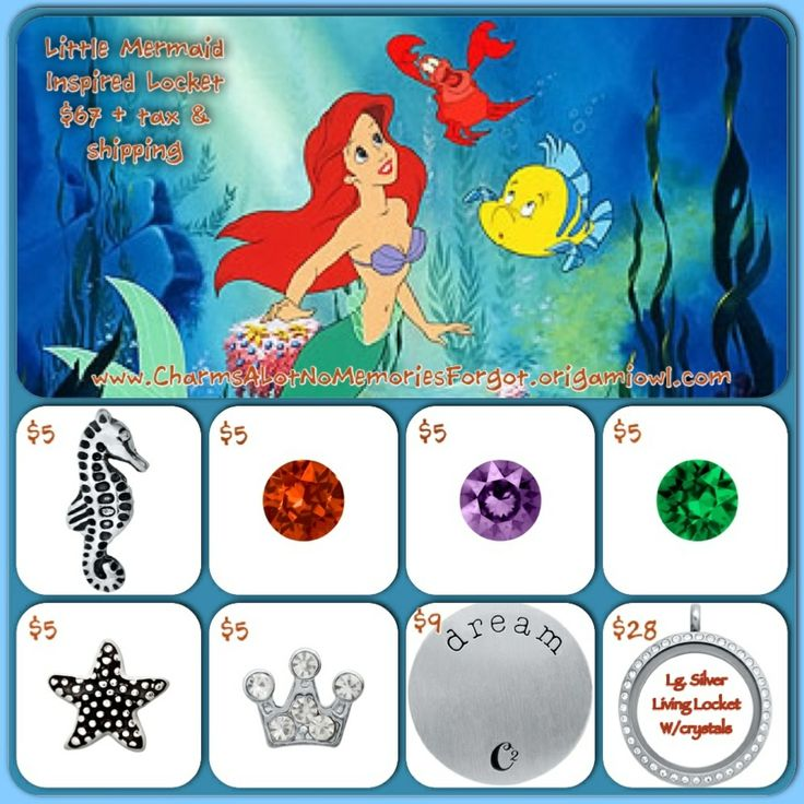 Disney's The Little Mermaid, Princess Ariel inspired locket!  Www.asaylor.origamiowl.com  Thanks!