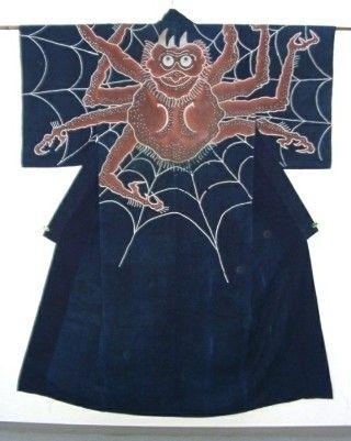 Giant spider festival kimono from the Edo era; photo via Ichiroya / Ichiroya Kimono Fleamarket.