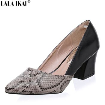 LALA IKAI Snakeskin Pattern Women Pumps Sexy Pointed Toe Microfiber Leather High Heels Shoes Woman Zapatos Mujer Tacon XWC0486-5