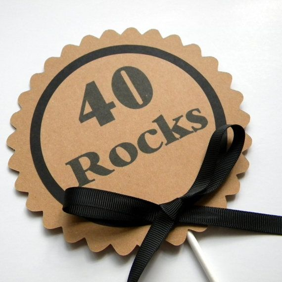 40 Rocks Birthday Cake Topper  Birthday by CarasScrapNStampArt, $5.00