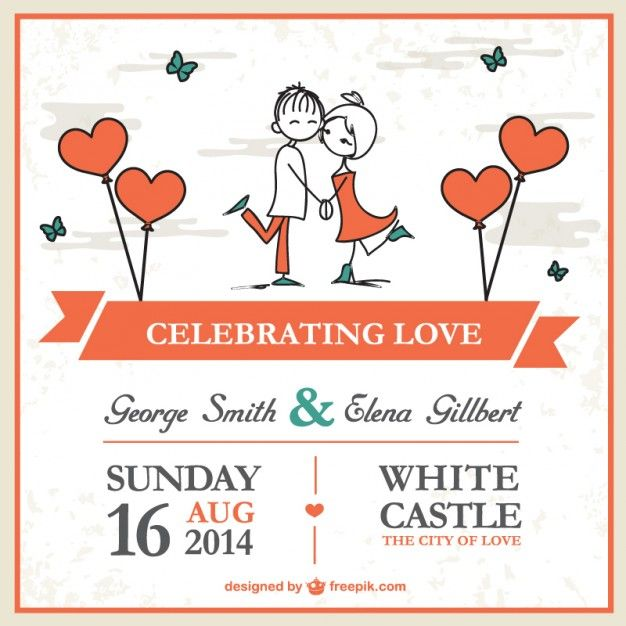 Great wedding invitation: http://www.freepik.com/free-vector/cartoon-couple-wedding-card-template_716317.htm