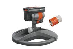 The Best Sprinkler | The Gardena ZoomMaxx Oscillating Sprinkler on Weighted Sled Base has a unique combination of versatile spray patterns and even coverage over such a wide range of large and small spaces. It's durable, sturdy, and adjustable, with a spray that you can fine-tune to entertain sprinkler-jumpers of any size.