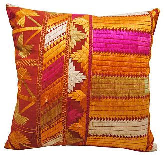 Vintage One Kings Lane Indian    Phulkari      Pillow