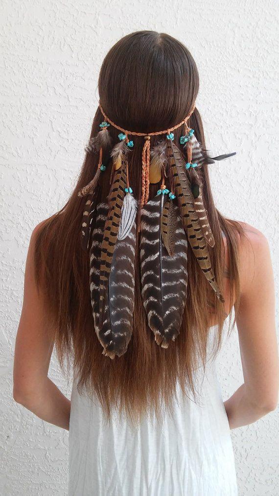 Boho Princess, Feather headband, native american, indian headband, tribal headband, bohemian headband, hippie Headband, feather hair band