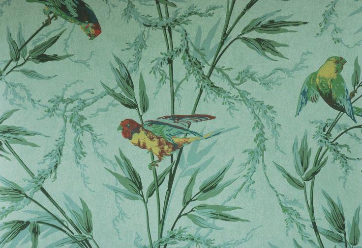 Papier peint vert à motifs : London Wallpaper, Great Ormond St., référence : 0277GTVERD - Papier peint chambre, entrée, pièce à vivre classique anglais €103
