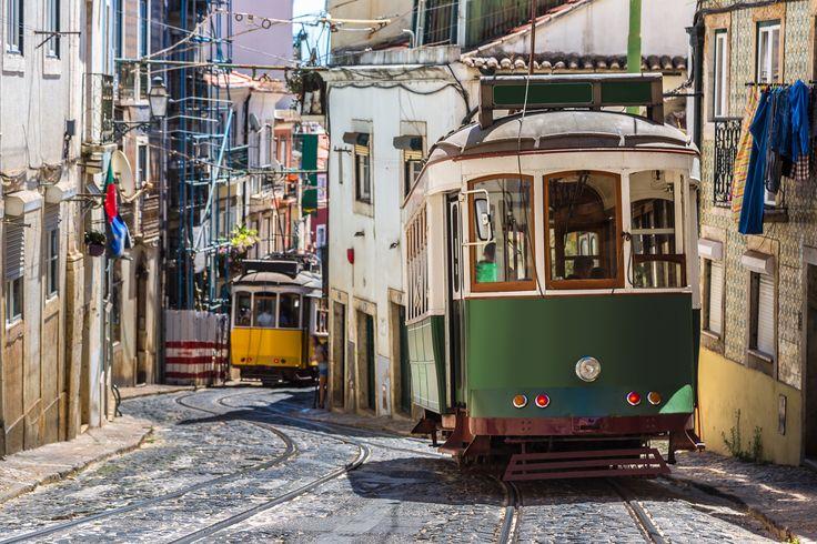 Vintage tram in the city center of Lisbon, Portugal