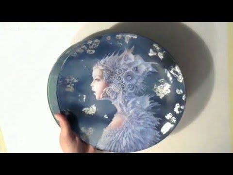 "#МК Анастасия Сотникова ""Обратный декупаж на тарелке..."" Ручная работа - YouTube"