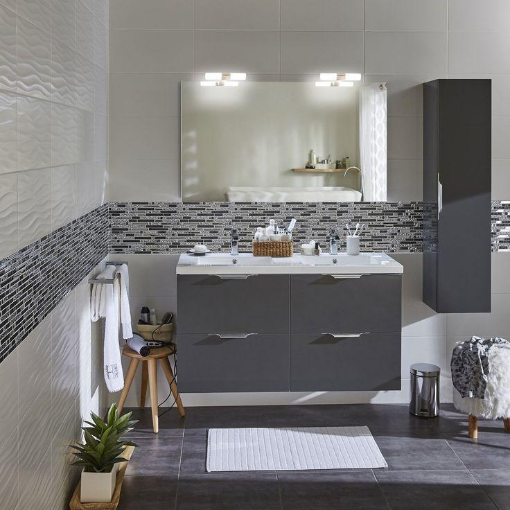 49++ Salle de bain carrelage gris meuble blanc inspirations