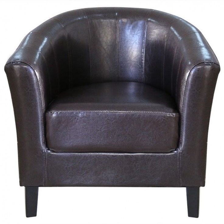 Brown Tub Chair Artificial Leather Arm Chairs Seat Accent Furniture Barrel New #BrownTubChair