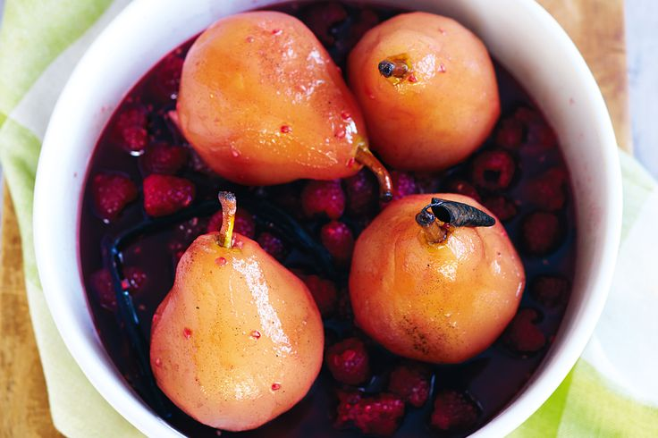 Slow-cooker poached raspberry pears http://www.taste.com.au/recipes/27611/slow+cooker+poached+raspberry+pears