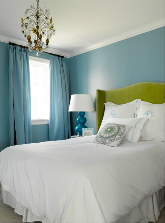 Turquoise bedroom with a touch of green to flow with the bathroom and a tiny bit
