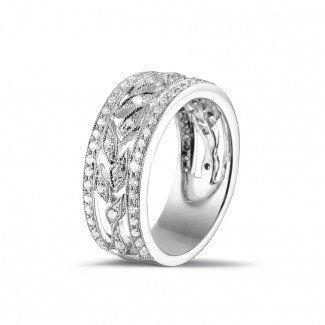 Witgouden Diamanten Ringen - 0.35 caraat brede florale alliance in wit goud met kleine ronde diamanten