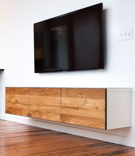 Floating Media Cabinet by Semi-Handmade.....Doors stained to match your credenza.