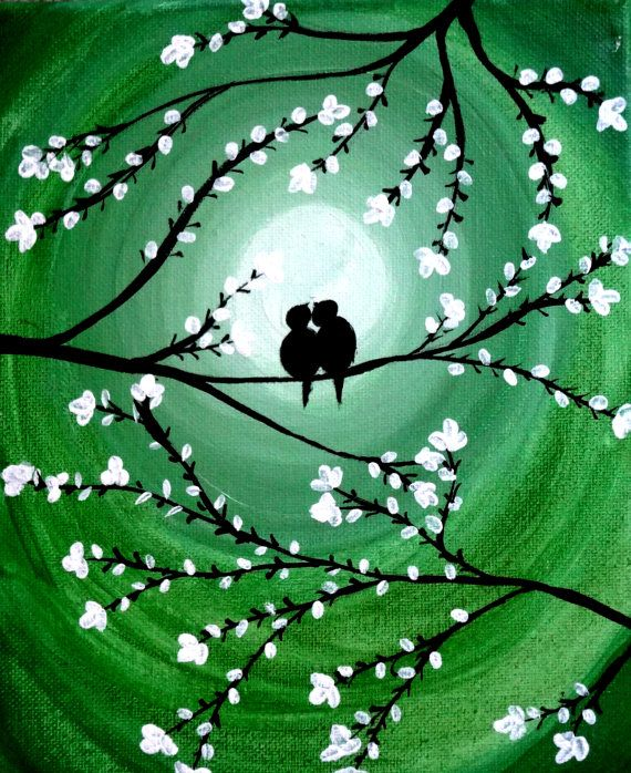Valentine's day gift Love birds Acrylic canvas painting Inspirational Quote painting Canvas quotes Birds on a tree Birds Silhouette