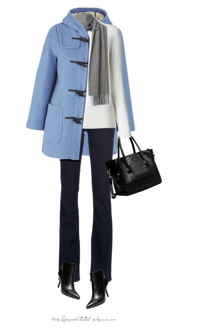 """Sky Blue Duffle Coat"" by jaycee0220 ❤ liked on Polyvore featuring Gloverall, J Brand, rag & bone, FC Select Design, Burberry and Steven by Steve Madden"