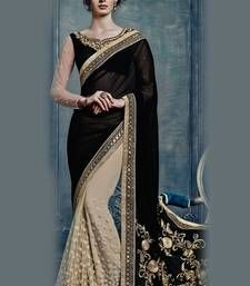 BLACK  and  CREAM embroidered georgette saree with blouse Shop Online