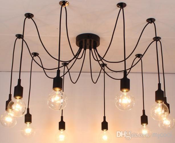 Wholesale Nouveau filet Rétro classique lustre 10 E27 araignée lampe pendentif porte-ampoule du groupe Edison bricolage lampes d'éclairage des lanternes accessoires messenger fil, Free shipping, $109.95/Pièce | DHgate Mobile