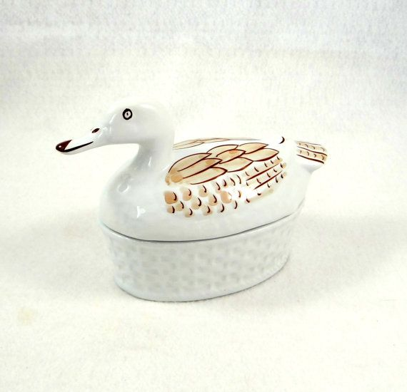 Vintage Porcelain Duck Jar by Vitrin of Aljubarotta of Porturgal