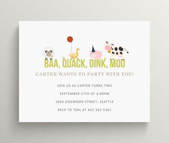 invitación de cumpleaños II animales de la granja por OliveandStar