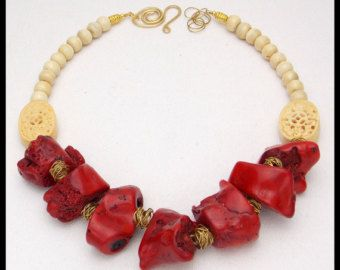 RED HOT MAMA - Chunky Red Coral - Handcarved Bone Focals and Round Beads - Fab Statement Necklace