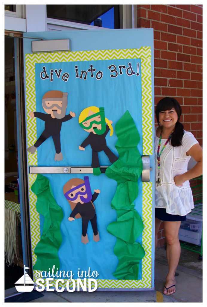 Sailing Into Second: Dive into 3rd grade! Such a cute door! She created the divers herself! Love all of Creative Teaching Press's Chevron in the class!