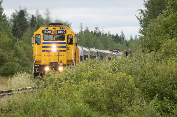 GP38-2 locomotives 1809 and 1805 bring the Polar Bear Express mixed train into Moosonee 2017 August 6th.