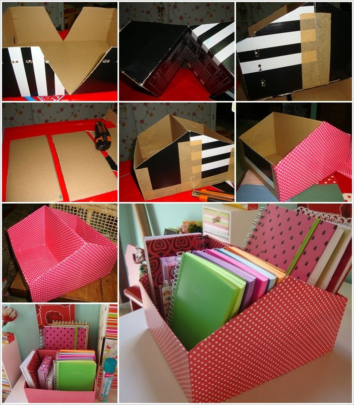 Make This Shoe Box Book Organizer for Your Work Desk.