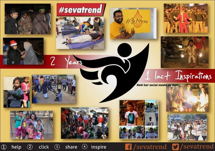 2 years, 1 lac+ inspirations, infinite lives touched!  On this day, 2 years ago, a revolution began. A revolution of service and humanity. A trend began, #Sevatrend!  With each passing year we grow as kindness and compassion grows in the world.  We thank all the heroes who have part of this revolution. With the world already filled with kindness and compassion, we only need to inspire, to ignite. Let's inspire more and make this world a more better place! #HappyBdaySevatrend