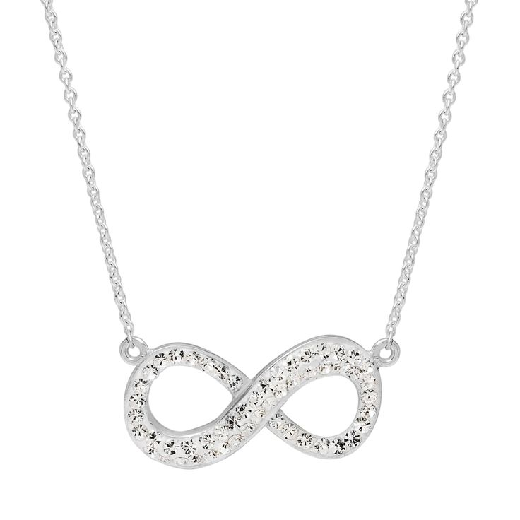 Silver Radiance Infinity Pendant Necklace, White