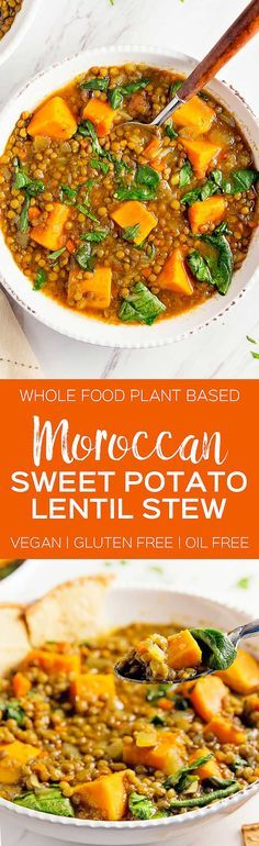 DELICIOUS Moroccan Sweet Potato Lentil Stew! Hearty and healthy stew bursting with flavor! #vegan | Posted By: DebbieNet.com