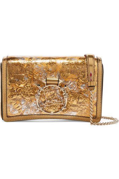 94b00ba5dce Christian Louboutin | Rubylou metallic leather and foil shoulder bag ...