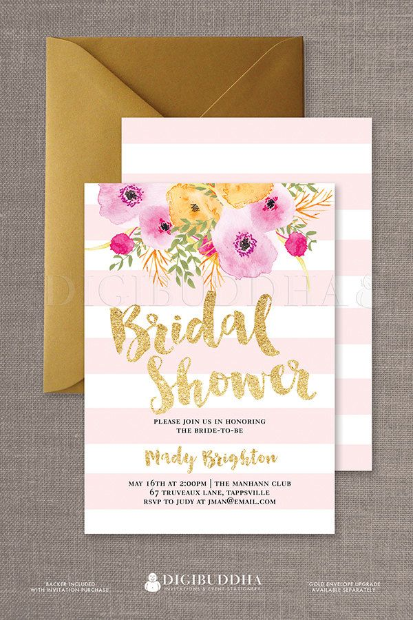 Boho Chic Pink Stripe Bridal shower invitations with gold glitter brush script and watercolor flowers available at digibuddha.com