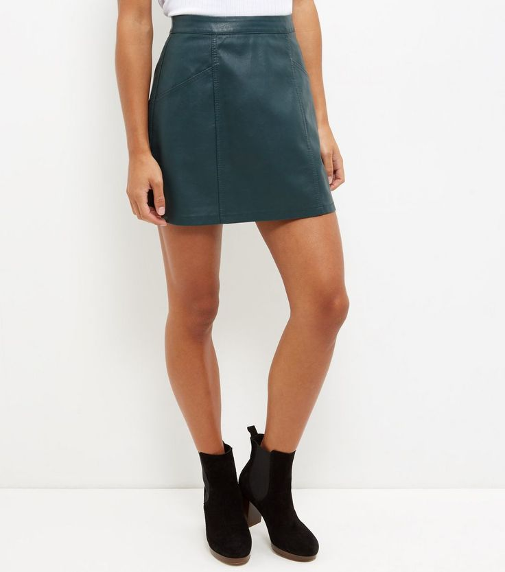 Petite Dark Green Leather-Look Skirt | Green skirts, Shops and ...