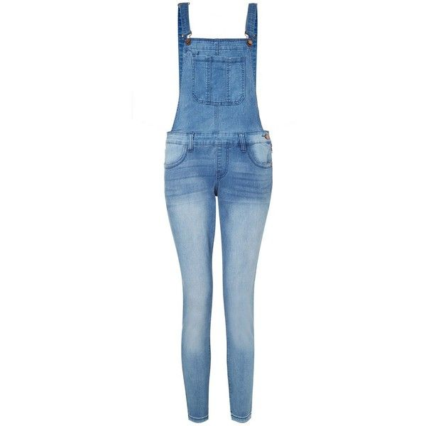 Petite Blue Tapered Slim Leg Dungarees (39 BRL) ❤ liked on Polyvore featuring jumpsuits, pants, jeans, pantalones, rompers, jumpsuit, petite, playsuit jumpsuit, blue romper and blue jumpsuit