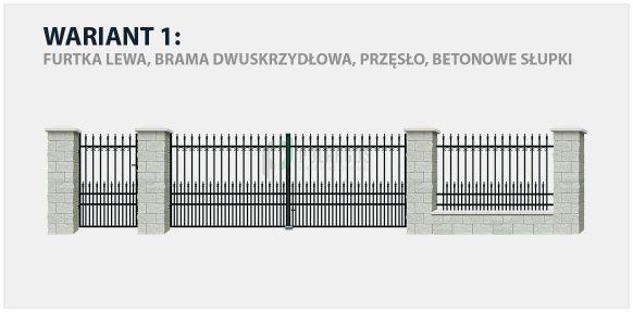 Ogrodzenie klasyczne York 2 w wariancie z bramą dwuskrzydłową i betonowymi słupkami.