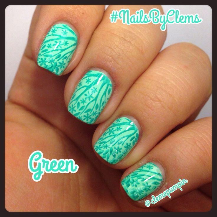 "Hi there! This is my entry for #moyou20k challenge #green used #stampingplate ""Mother Nature"" 01 by @moyou_london  colors used: ""Thats shore bright"" by @chinaglazeofficial and ""Kiwi bikini"" by @sally_hansen  Hope You like it! #notd #nails #nailart #nailgasm #nailsdid #nailartwow #nailpolish #nailstagram #nailartchile #nailartdaily #nailsbyclems #naturalnails #notd365nailart #verde #floral #plants #uñas #unhas #nature"