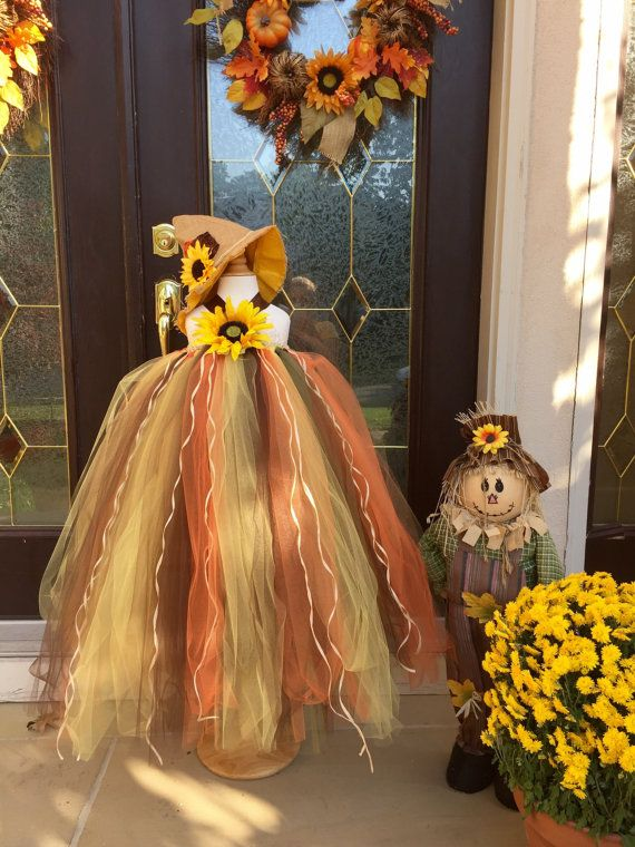 Sunflower Fall / Halloween Dress made to order. This dress is perfect for Halloween, great for a Thanksgiving Event, Fall Birthday Party or Portraits. Listing is for a Dress ONLY. Purchasing a hat will all depend on availability. If I have hats in stock, I will create a custom listing for you to include both items. Hats are $20. Size Chart for Dress Length (from chest/under arm down to bottom of dress): 1T (18 Length) 2T (23 Length) 3T (25 Length) 4T (27 Length) 5T (29 Length) 6 (...