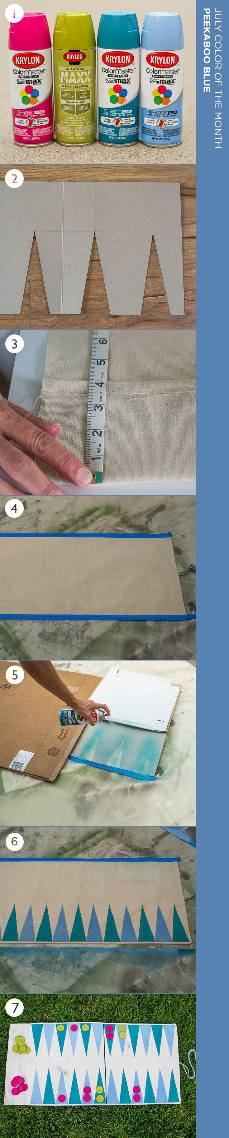 Soak up the sun while playing a fun game of backgammon. Create your own portable game board, painted with Peekaboo Blue, Krylon's July Color of the Month, using instructions from @InfarrantlyCreative  #DIYCrafts #BeachCrafts