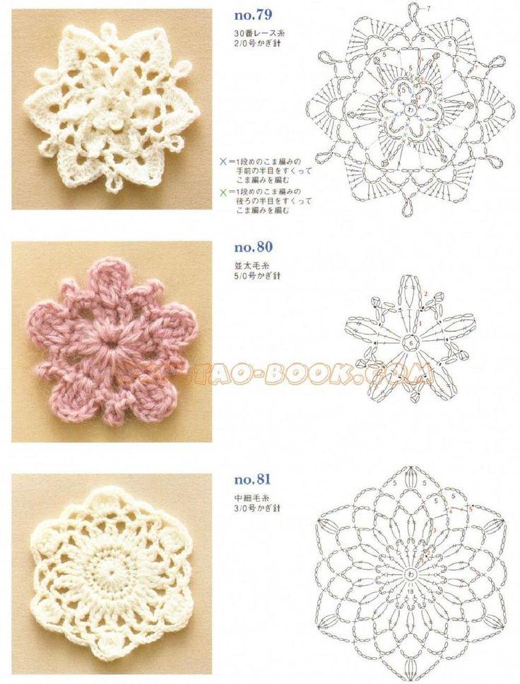 Crochet squares, triangles, circles, flowers, fruit, snowflakes, borders ... Online PDF. #Japanese #crochet #book