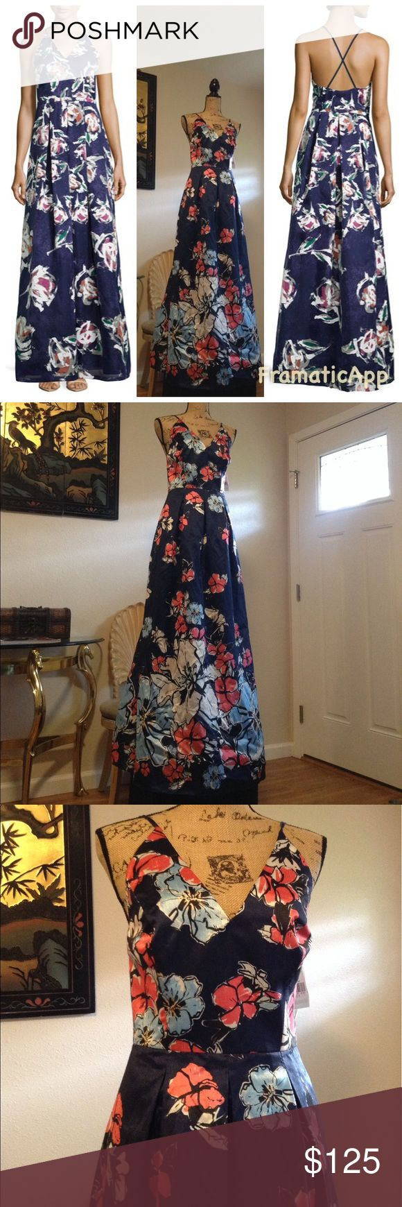 "Kay Unger Phoebe Floral Gown Sz8 Kay Unger Phoebe Floral Gown Sz8 . Has side zip hook closure adjustable straps , is fully lined & measures approx 57"" long waist approx 30"".😆 Kay Unger Dresses Maxi"