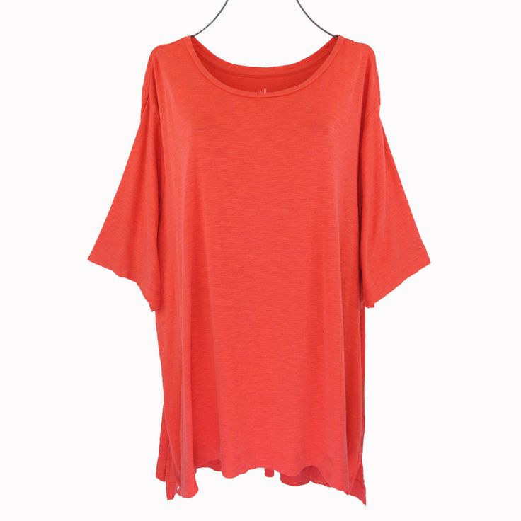 J Jill 4X Tunic Top Plus Size Womens Orange Short Sleeve Pima Cotton Slub Shirt #JJill #KnitTop #Casual