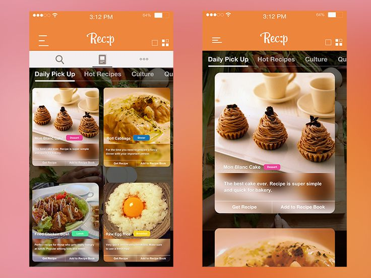 30 best recipe app images on pinterest app design app ui and 30 inspiring recipe app ui designs youll love forumfinder Image collections