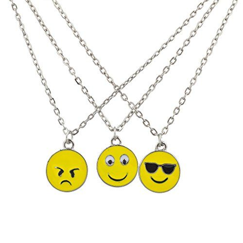 Silvertone Emoji BFF Best Friends Forever Charm Necklaces (3PCS) Set includes mad face emoji, eyes wide emoji and sunglasses cool emoji Assorted emoji charms on silvertone chain Measures: 24 Designed by Lux Accessories, a world leader in fashion jewelry Backed By A 30-Day 100% Satisfaction Guarantee
