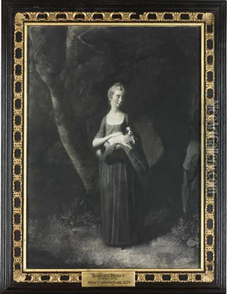 Portrait Of Miss Cunningham Holding Her King Charles Spaniel, Small Full Length Oil Painting - Robert Healy