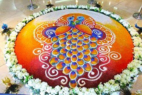 Peacock Rangoli Design with Marble Powder
