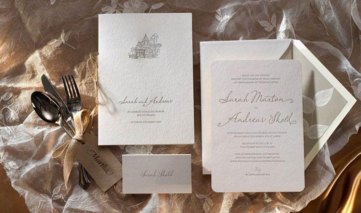 Rustic letterpress wedding invitation.