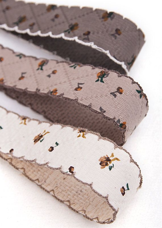 Flower Cotton Peacoat Fabric Ribbon 2.5cm-4Colors by HOLYCO