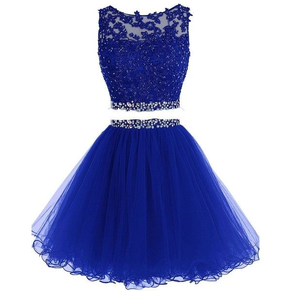 HTYS Beaded Two Pieces Prom Dresses Applique Short Homecoming Dresses... ($54) ❤ liked on Polyvore featuring dresses, 2 piece dress, short dresses, blue homecoming dresses, blue dress and 2 piece prom dresses