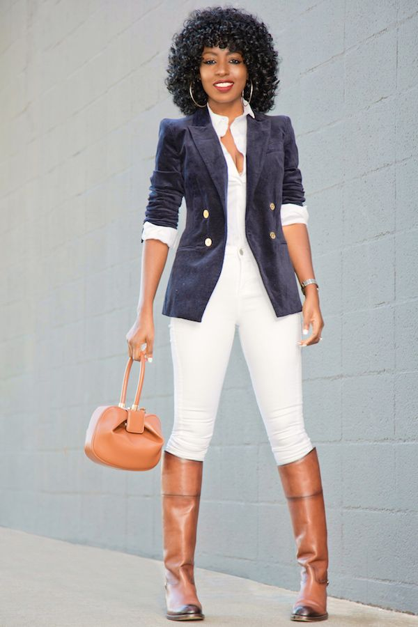 Velvet Blazer + Button Down Shirt + White Jeans