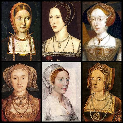 King Henry's six wives from top left to bottom right: Catherine of Aragon (c. 1502), Anne Boleyn (c. 1534), Jane Seymour,  Anne of Cleves (1539), Catherine Howard, & Catherine Parr
